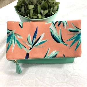 Rachel Pally Tropical Reversible Clutch Teal Pink